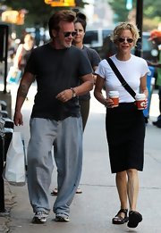 A basic tee kept Meg Ryan classic and comfy while out in NYC.