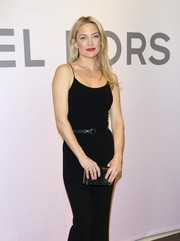 Kate Hudson paired a black leather belt with a spaghetti-strap jumpsuit for the Michael Kors Miranda Eyewear Collection event.
