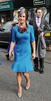 Pippa looked stylish as ever when she wore this fit-and-flare dress while out at a wedding.
