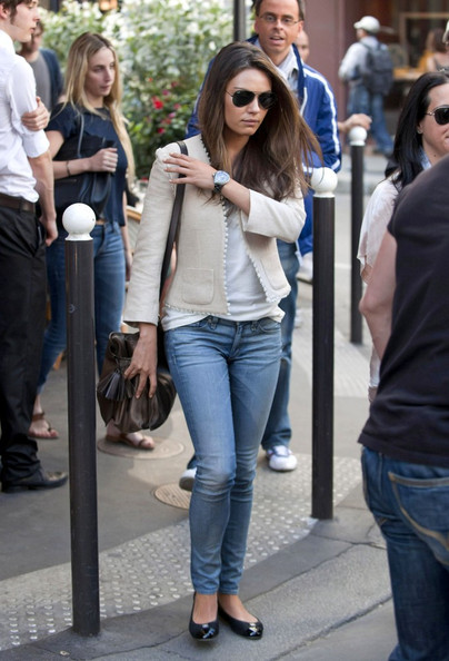 Mila Kunis Metallic Shoulder Bag
