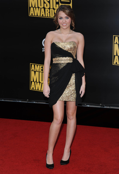 Miley Cyrus Strapless Dress