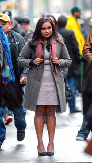Mindy Kaling was spotted on the set of 'Late Night' wearing a gray wool coat.