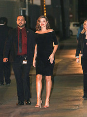 Miranda Kerr looked supremely elegant in a black off-the-shoulder dress during her appearance on 'Kimmel.'