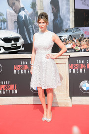 Carly Steel was pure elegance in an ornately embroidered fit-and-flare LWD at the Vienna premiere of 'Mission Impossible - Rogue Nation.'