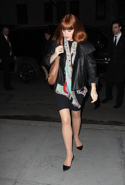 Molly Ringwald looked sophisticated in a leather jacket over an LBD.
