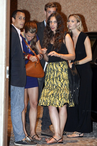 Tatiana Santo Domingo's knee length Prada skirt added some  flair and fun to her outfit.