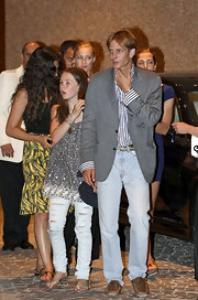 A very stylish Andrea Casiraghi was seen in a pair of pale blue jeans topped with a gray blazer and striped shirt as he exited an Eagles concert in Monaco.