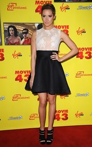 Ashley went for a super-sweet look at the 'Movie 43' premiere in this black-and-white cocktail dress.