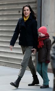 Jennifer Connelly sported a classic pea coat on the set of 'Winter's Tale' in NYC.