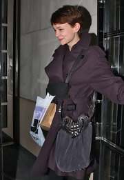 Carey Mulligan's slouchy suede bag was a nice casual touch to her winter outfit.