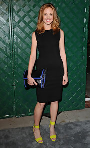 Jayma Mays added a fun pop of color to her look with a pair of strappy chartreuse sandals for the video premiere of 'My Valentine.