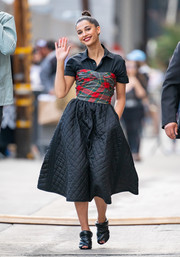 Naomi Scott appeared on 'Kimmel' wearing a strapless Dior dress with a tartan bodice and a quilted skirt, which she teamed with a collared top.