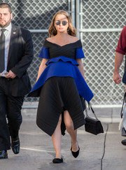 Simple black flats finished off Natalie Portman's outfit.