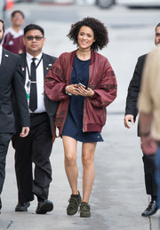 Nathalie Emmanuel headed to 'Kimmel' dressed down in a navy T-shirt dress.