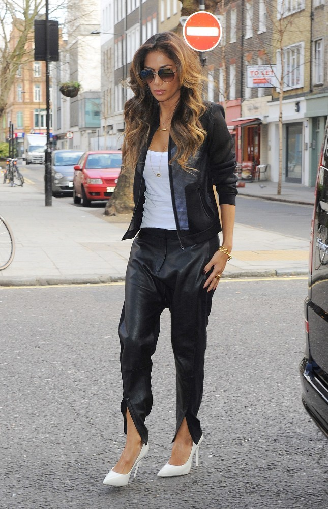 Nicole Sherzinger arrives at an office building in London.