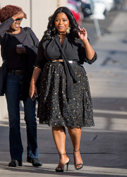 Octavia Spencer was classic in a black pussybow blouse during her appearance on 'Kimmel.'