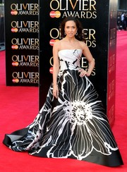 Myleene Klass was a stunner in a black-and-white floral strapless gown by Dennis Basso during the Olivier Awards.