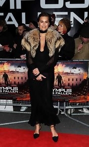 Yasmin Le Bon chose this long black evening gown for her retro-inspired red carpet look at the 'Olympus Has Fallen' premiere in London.