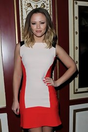 Kimberley Walsh attended the 'Once' press night looking sophisticated in a tricolor mini dress.