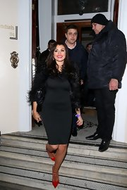 Jessica Wright dressed up her LBD by pairing it with a furry shrug.