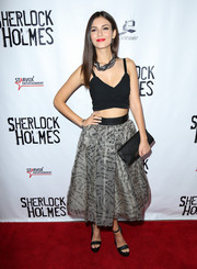 Victoria Justice looked cute and trendy in a black crop-top at the opening of Sir Arthur Conan Doyle's 'Sherlock Holmes.'