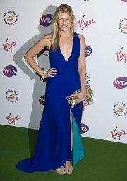 Francesca Hull sported this daring cobalt-blue dress at a pre-Wimbledon party in London.