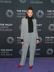 Michelle Monaghan was all business in a gray glen plaid pantsuit by Roberto Cavalli at the Paley Center for Media's presentation of 'The Path' season 3.