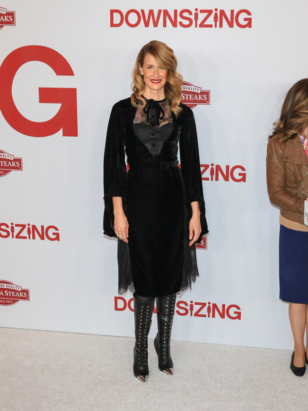 Laura Dern sealed off her head-turning attire with knee-high lace-up boots by Christian Louboutin.