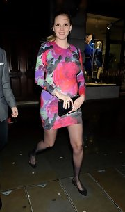 Lara Stone opted for a bright and feminine floral dress while out in London.