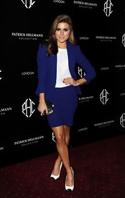 Zoe Hardman opted for a sleek purple skirt suit for her red carpet look at the Patrick Hellmann Launch party.