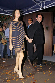 Mary McCartney looked effortlessly chic in her silk geometric print dress.