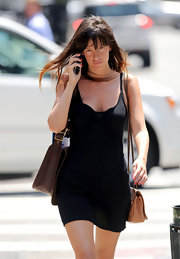 Paz de la Huerta looked va-va-voom on the streets of Tribeca in a curve-hugging spaghetti-strap LBD.
