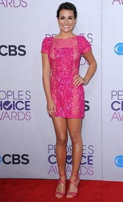 Lea Michele looked bubbly in this hot pink beaded cocktail dress at the People's Choice Awards.