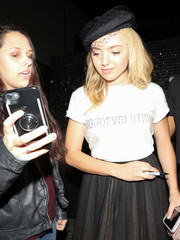 Peyton List enjoyed a night out wearing a fancy fishnet-embellished beret by Dior.