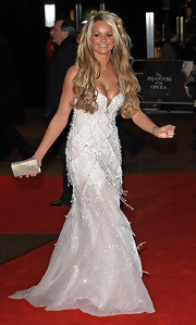 Jennifer Ellison was the ultimate glamazon in this heavily beaded white evening gown at the 'Phantom of the Opera' premiere.