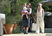 Pink sported a free-flowing cream-colored jumpsuit while out with her family.