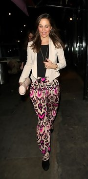 Pippa Middleton chose pink, nude, and black tribal-print pants while out and about in Chelsea.