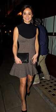 A woven clutch added subtle texture to Pippa Middleton's look.