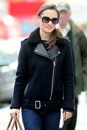 Pippa's warm and stylish winter jacket combined moto-chic with classic wool.