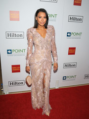 Naya Rivera glammed up in a blush-colored lace gown for the Point Honors Los Angeles event.