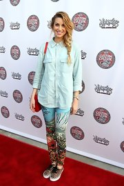 "Whitney Port added a wild edge to her eclectic red carpet look with these ""Leopard Authentic"" lace-ups."