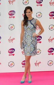 Ana Ivanovic went for a modern-chic look with this sleeveless print dress at the pre-Wimbledon party.