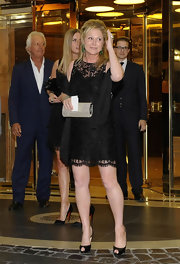 Kathy Hilton showed off her fit legs in an elegant lace LBD at Petra Ecclestone's pre-wedding party.