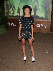 Skai Jackson looked cute in an appliqued knit top by Emporio Armani at the premiere of 'Jumanji: Welcome to the Jungle.'