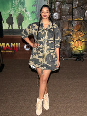 Lilly Singh attended the premiere of 'Jumanji: Welcome to the Jungle' looking tough in a camo-print jacket.