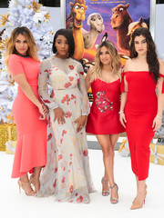 Ally Brooke finished off her look with a pair of metallic T-strap sandals.