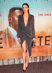 Angela Sarafyan slayed in a plunging gray wrap dress by Julien Macdonald at the premiere of 'True Detective' season 3.