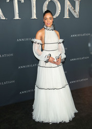 Tessa Thompson looked romantic in a floaty white Naeem Khan halter gown with detached sleeves at the premiere of 'Annihilation.'