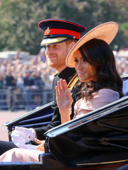 Meghan Markle attended Trooping the Colour wearing a decorative straw hat by Philip Treacy.
