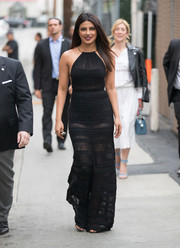 Priyanka Chopra looked mesmerizing in a partially sheer halter maxi dress by Ralph Lauren while headed to 'Kimmel.'